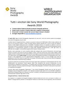 Tutti i vincitori dei Sony World Photography Awards 2019