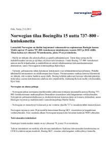 Norwegian tilaa Boeingilta 15 uutta 737–800 -lentokonetta