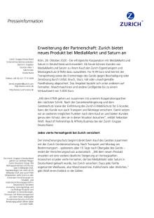 Erweiterung der Partnerschaft: Zurich bietet neues Produkt bei MediaMarkt und Saturn an