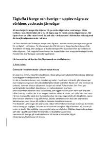 Tips på tre rundresor med tåg mellan Norge och Sverige