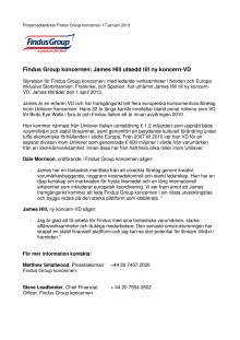 Findus Group koncernen: James Hill utsedd till ny koncern-VD