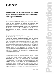 Bekanntgabe der ersten Shortlist der Sony World Photography Awards 2021: Studenten- und Jugendwettbewerb