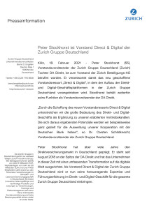 Peter Stockhorst ist Vorstand Direct & Digital der Zurich Gruppe Deutschland
