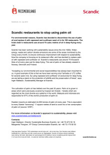 Scandic restaurants to stop using palm oil