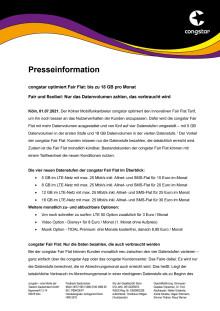 congstar optimiert Fair Flat: bis zu 18 GB pro Monat