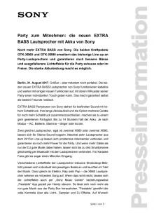 Party zum Mitnehmen: die neuen EXTRA BASS Lautsprecher mit Akku von Sony