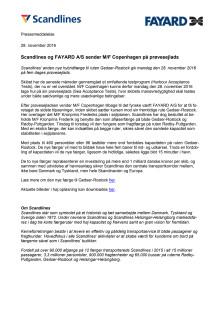 Scandlines og FAYARD A/S sender M/F Copenhagen på prøvesejlads