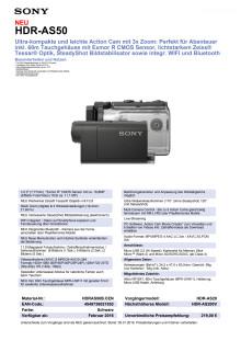 Datenblatt HDR-AS50 von Sony