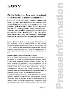 IFA Highlights 2014: Sony setzt zukunftsweisende Maßstäbe in allen Produktbereichen