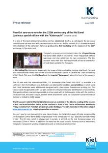 Press release: New Kiel zero-euro-note for the 125th anniversary of the Kiel Canal