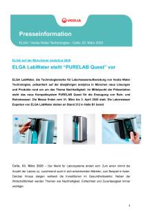 """ELGA LabWater stellt """"PURELAB Quest"""" vor"""