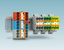 Connection-ready distribution blocks for flexible mounting