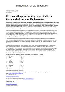 Här har villapriserna stigit mest i Västra Götaland – kommun för kommun