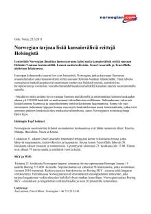Norwegian tarjoaa lisää kansainvälisiä reittejä Helsingistä