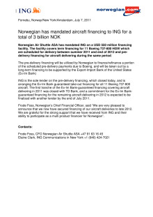 Norwegian has mandated aircraft financing to ING for a total of 3 billion NOK
