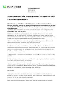 Sven Björklund från humorgruppen Klungan blir Dolf i Umeå Energis reklam