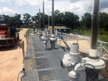 Rotork intelligent electric actuators with gearboxes used to provide flood protection in Texas