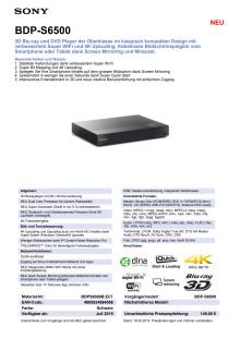 Datenblatt BDP-S6500 von Sony