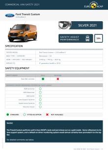 Euro NCAP Commercial Van Testing - Ford Transit Custom datasheet
