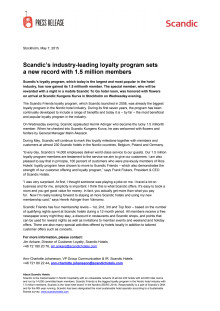 Scandic's industry-leading loyalty program sets a new record with 1.5 million members