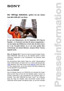 """Pressemitteilung """"Der 100%ige Adlerblick - gefilmt mit der Action Cam Mini HDR-AZ1 von Sony"""""""