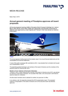 Annual general meeting of Panalpina approves all board proposals
