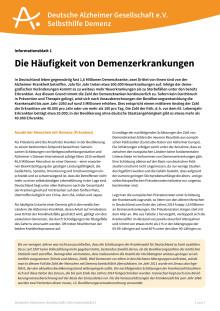 """Informationsblatt """"Die Häufigkeit von Demenzerkrankungen"""" neu Juli 2016"""