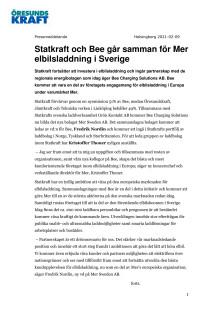 Statkraft och Bee går samman för Mer elbilsladdning i Sverige