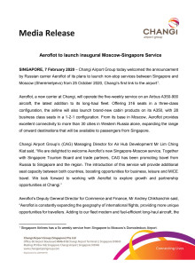 Aeroflot to launch inaugural Moscow-Singapore Service