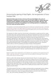 Press release Restaurant Atelier