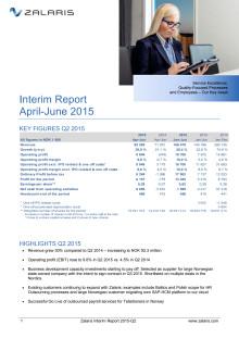 Zalaris Interim Report Q2 2015