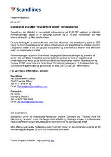 "Scandlines afslutter ""Investment grade"" refinansiering"