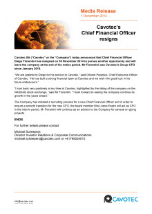 Cavotec Chief Financial Officer resigns