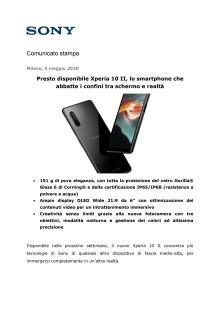 Presto disponibile Xperia 10 II, lo smartphone che abbatte i confini tra schermo e realtà