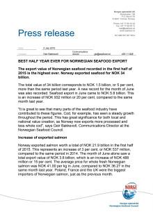 Best half year ever for Norwegian seafood export