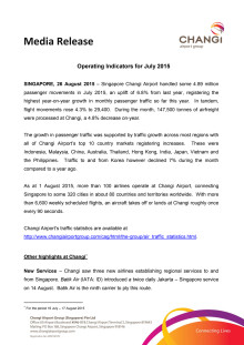 Operating Indicators for July 2015