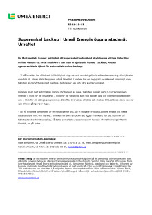 Superenkel backup i Umeå Energis öppna stadsnät UmeNet