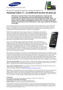 Samsung Galaxy S – en mobil med mycket att peka på