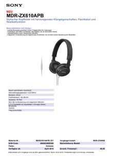 Datenblatt_MDR-ZX610APB von Sony