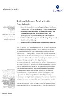 Betriebsschließungen: Zurich unterstützt Gewerbekunden