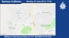 Witness appeal following a collision in Tadworth
