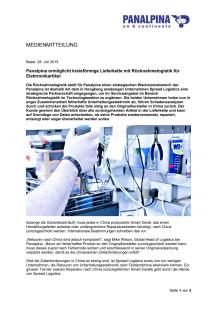 Panalpina ermöglicht kreisförmige Lieferkette mit Rücknahmelogistik für Elektronikartikel
