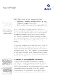 Zurich übernimmt Berliner Insurtech dentolo