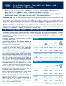 Ford Motor Company reports Fourth Quarter and Full Year 2018 Results