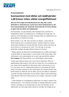 Svenssontest med elbilar och laddhybrider 1,68 kronor milen