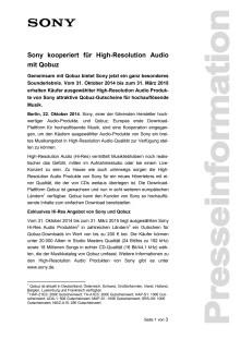 Sony kooperiert für High-Resolution Audio mit Qobuz