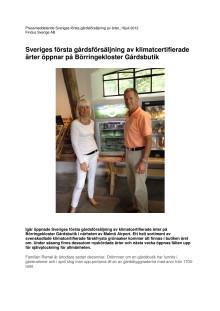 Sveriges första gårdsförsäljning av klimatcertifierade ärter öppnar på Börringekloster Gårdsbutik