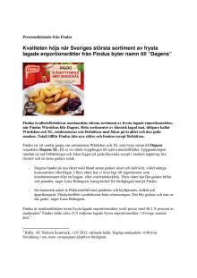 """Kvaliteten höjs när Sveriges största sortiment av frysta lagade enportionsrätter från Findus byter namn till """"Dagens"""""""
