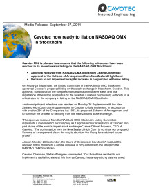 Cavotec now ready to list on NASDAQ OMX in Stockholm