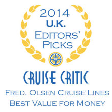 Fred. Olsen Cruise Lines is 'Best Value for Money' three years in a row, as voted by Cruise Critic experts